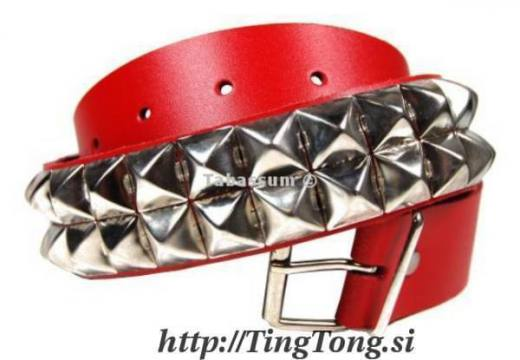 Pas Usnjen 2 R. Pyramid Rivets Red